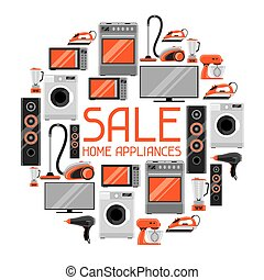 shoppen , items, huisgezin, verkoop, appliances., flyer, reclame, achtergrond, thuis