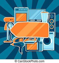 shoppen , items, huisgezin, verkoop, appliances., reclame, achtergrond, poster, thuis