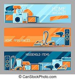 shoppen , items, huisgezin, verkoop, appliances., reclame, poster, thuis, banieren