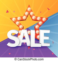 shoppen , kleurrijke, poster, verkoop, vector, ontwerp, achtergrond, ster, ster, bol