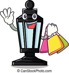 shoppen, lampe, straße, zeichen, karikatur