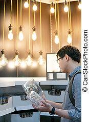 shoppen, licht, elektrisch, asiatisch, zwiebel, kaufmannsladen, mann