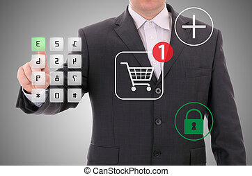 shoppen, linie, sicher, zahlung, encrypted