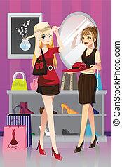 shoppen, mädels