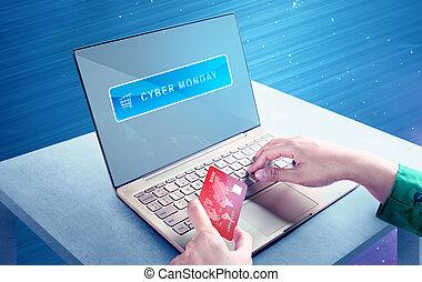 shoppen , maandag, draagbare computer, handen, cyber, krediet, online, gebruik, kaart