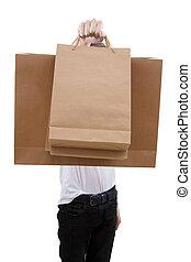 shoppen, mann, weißes, säcke, hintergrund, freigestellt, junger
