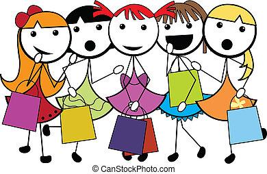shoppen , meiden, spotprent, stok