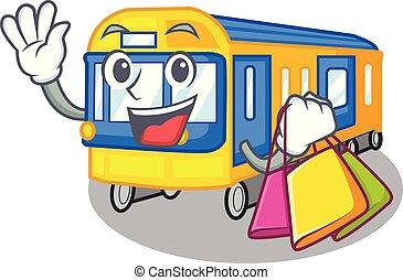 shoppen , metro trein, speelgoed, in vorm, mascotte