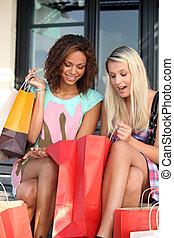 shoppen, nach, raserei, ekstatisch, mädels