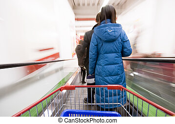 shoppen , op, de, supermarkt