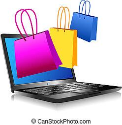 shoppen , op, het internet