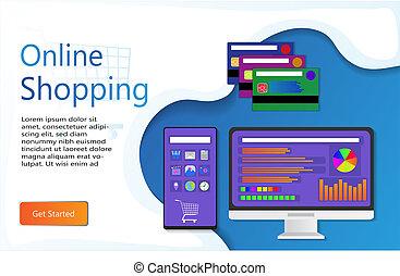 shoppen , pagina, tussenverdieping, online