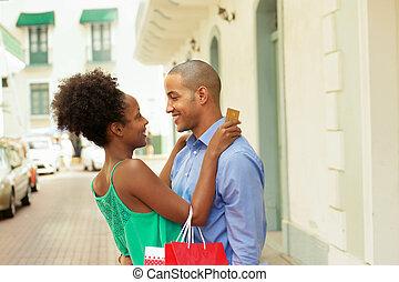 shoppen, panama, kredit, amerikanische , afrikanisch, paar, karte
