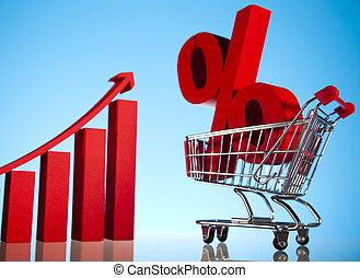 shoppen , procent, supermarkt, kar