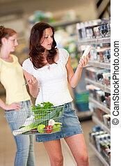 shoppen , reeks, -, bruin haar, jonge vrouw