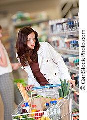 shoppen , reeks, -, bruin haar, vrouw, in, een, supermarkt