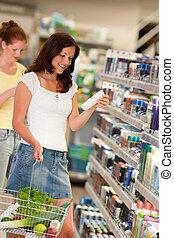 shoppen , reeks, -, bruin haar, vrouw