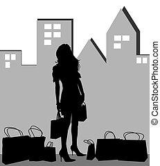 shoppen , silhouette, dame