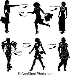 shoppen, silhouetten, frau, mode