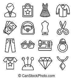 shoppen , stijl, mode, vector, lijn, iconen, set.