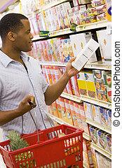 shoppen , supermarkt, man