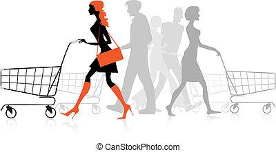 shoppen , tabel, mensen