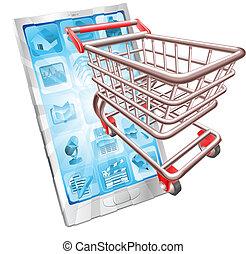 shoppen, telefon, app, begriff