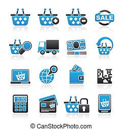 shoppen, und, einzelhandel, heiligenbilder