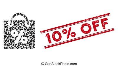shoppen , van lijn, 10%, gekraste, mozaïek, postzegel, korting, pictogram