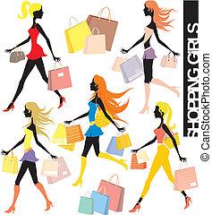 shoppen, vektor, mädels