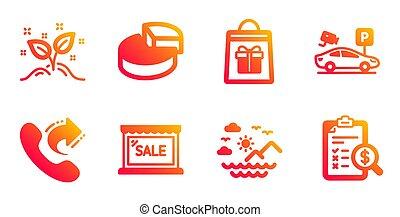 shoppen, verkauf, set., begriff, sicherheit, parken, anteil,...