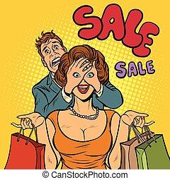 shoppen , verkoop, echtgenoot, vrouw