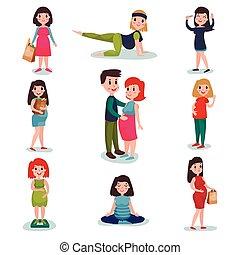 shoppen, verschieden, charaktere, schwanger, set., gehen, baby, winkende , frauen, berühren, übung, meditieren, mutti, erwarten, bauch, posen, hand., glücklich
