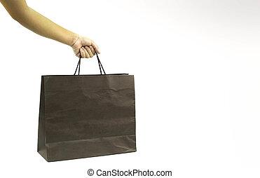 shoppen , vrijstaand, overhandiig zak, papier, houden
