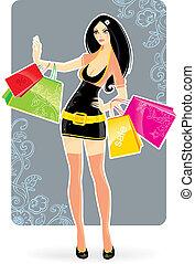 shoppen , vrouw