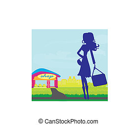 shoppen , vrouw, silhouette