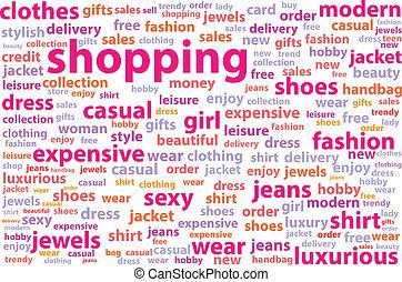 shoppen , woord, wolk