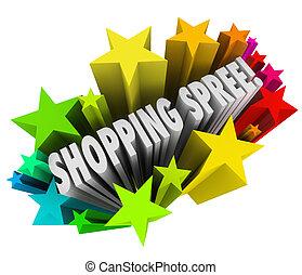 shoppen , woorden, winnaar, sterretjes, spree, sweepstakes,...