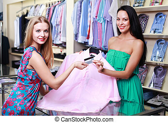 Shopper at a clothing store