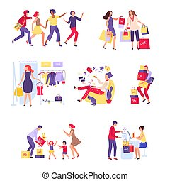 Shopper character people cartoon person hand drawn vector illustration isolated on white. Buyers carry purchase in store.