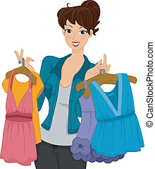 Shopper Girl - Illustration of a Female Shoppers Carrying...