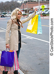 Shopper Hailing a Cab