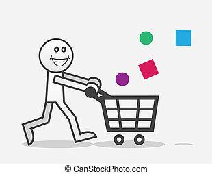 Shopper Happy - Happy shopper with objects falling into cart...