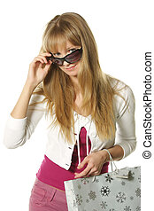 Shopper looks over sunglasses