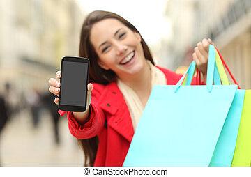shopper, med, handling väska, visande, ringa