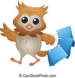 Shopper Owl - Illustration of an Owl Carrying Shopping Bags