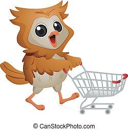 Shopper Owl - Illustration of an Owl Pushing a Shopping Cart