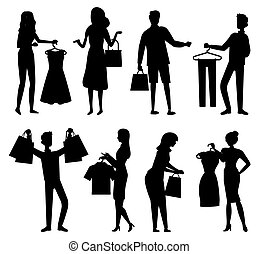 Shopper with Purchase, People Shopping Vector