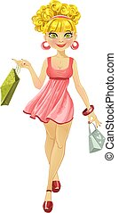 shopper woman in a pink dress