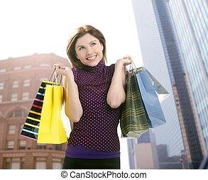Shopper woman shopping on the city